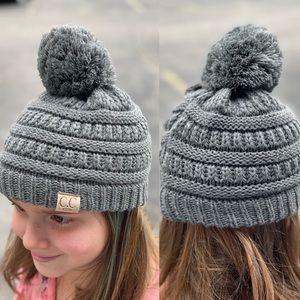 C.C. kids | Gray knit Pom Beanie | One Size